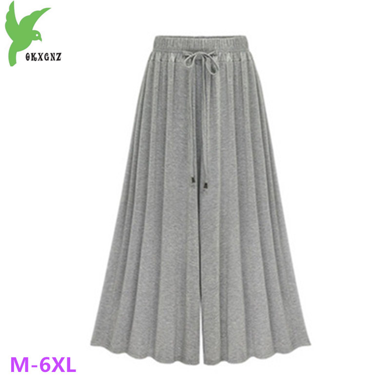 Plus size 6XL Women Spring Summer   Wide     leg     Pants   Fashion Elastic Waist Loose Big swing Casual   Pants   40-120KG Can Wear OKXGNZ1487