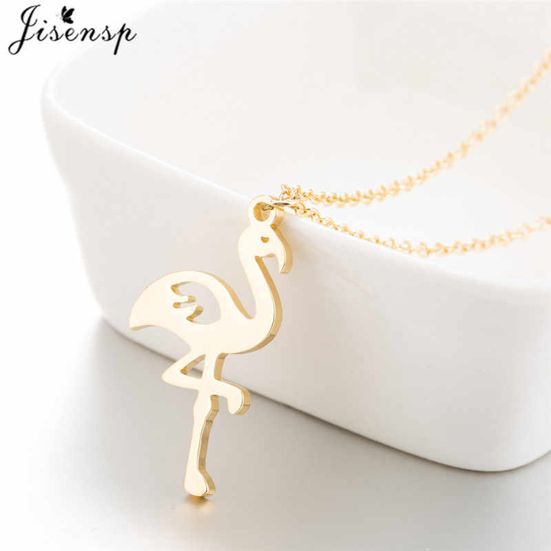 Jisensp Unique Long Chain Flamingo Stainless Steel Necklace for Women Fashion Jewelry Bird Animal Necklaces Pendants Collares