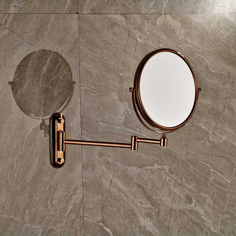 Rose Golden Make Up Magnifying Mirror Bathroom Wall Mounted Extending Double Side Round Folding Shaving Mirror