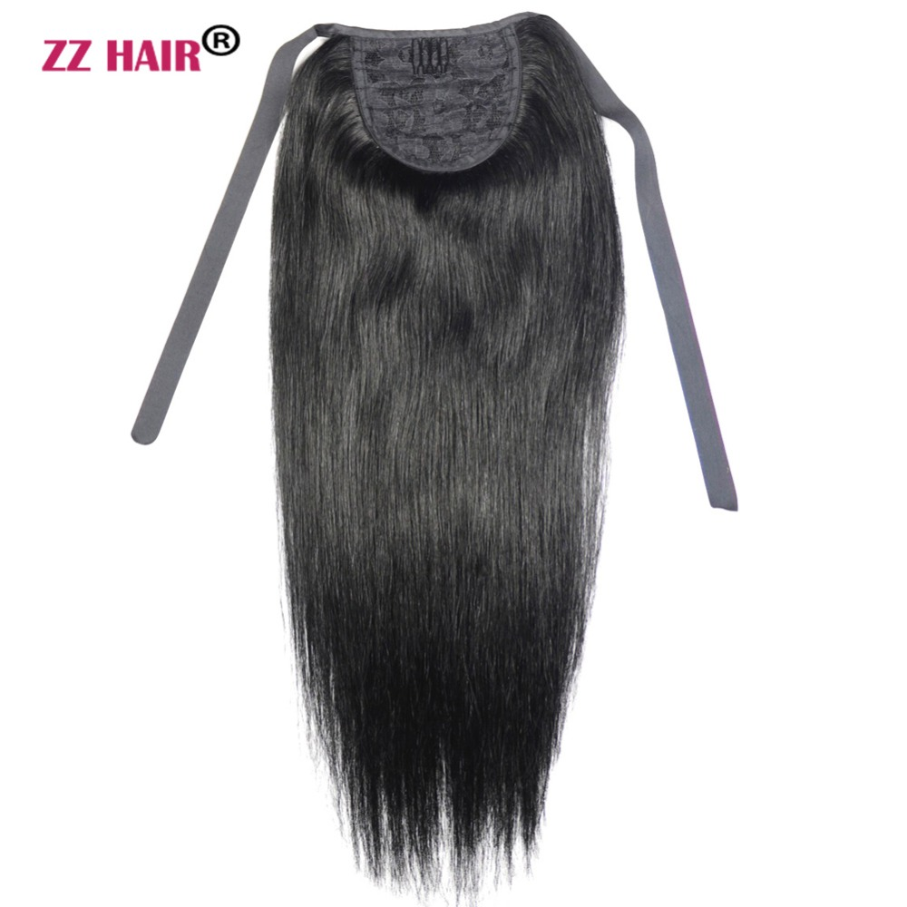 "ZZHAIR 60g 16""-20"" Machine Made Remy Hair Ribbon Ponytail Clips-in Human Hair Extensions Horsetail Natural Straight Hair(China)"
