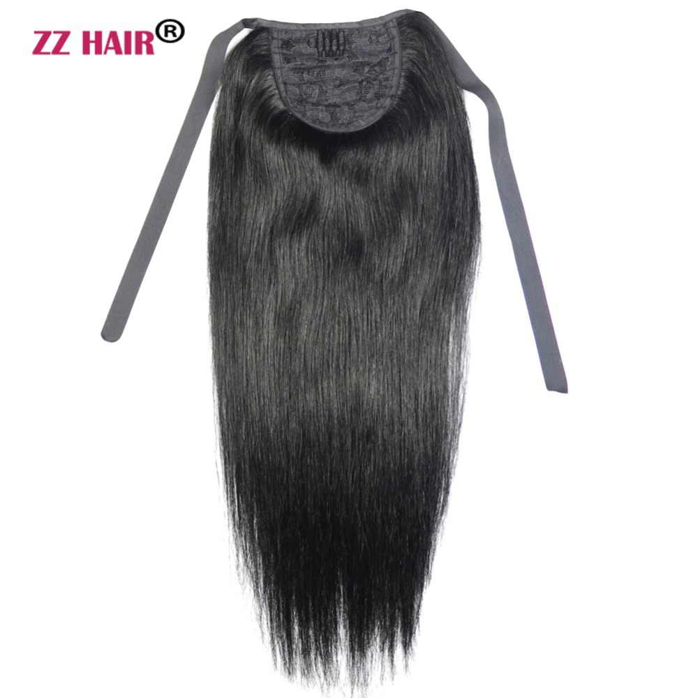 "ZZHAIR 60g 16""-20"" Machine Made Remy Hair Ribbon Ponytail Clips-in Human Hair Extensions Horsetail Natural Straight Hair"