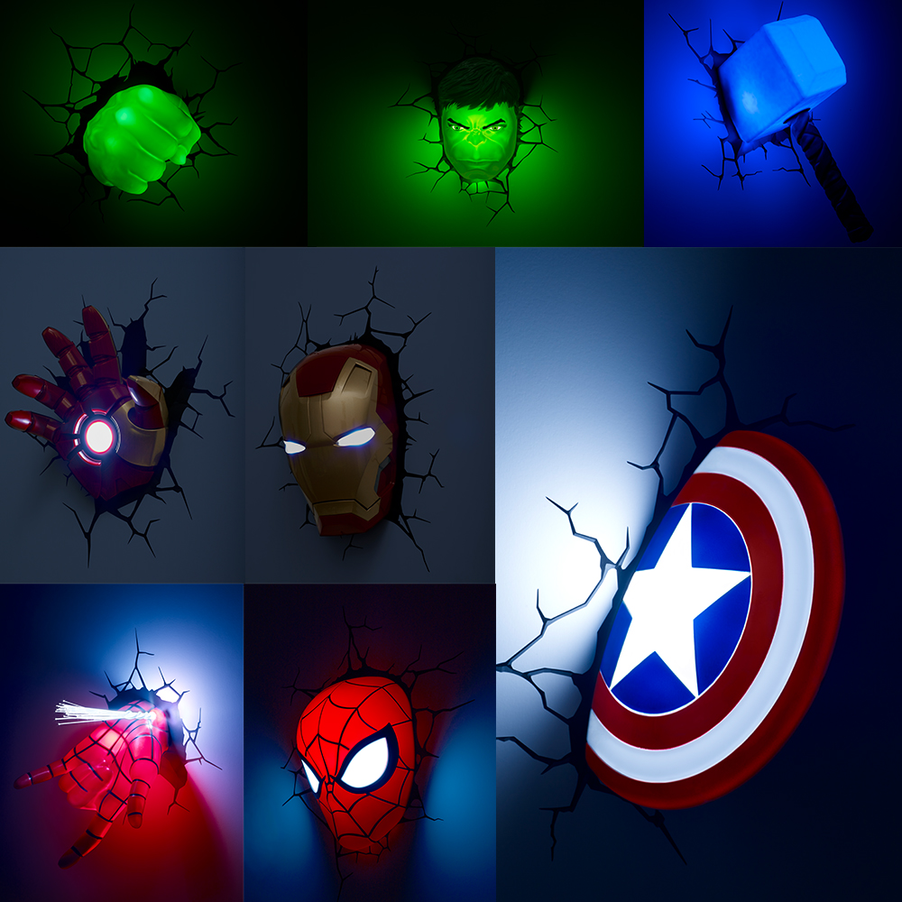 3D Wall Lamp Marvel Figure Iron Man Spiderman Hulk Captain America Thor Children Bedroom Night Light Christmas Birthday Gifts