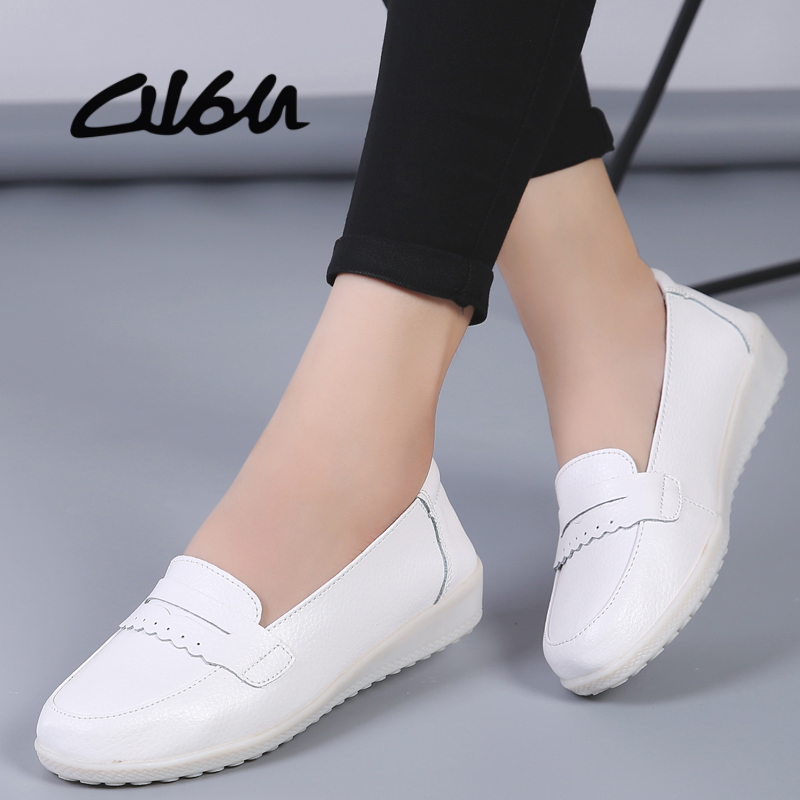 O16U 2019 Spring Autumn Women Ballet Flats Shoes Soft   Leather   Shoes Ladies Slip on Brand White Loafers Flats Shoes Nurse Casual