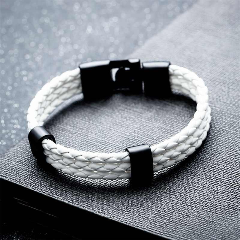 AZIZ BEKKAOUI skórzana bransoletka czarny Punk bransoletka dla mężczyzn ze stali nierdzewnej skórzany pleciony sznur bransoletka magnes bransoletka dla mężczyzn