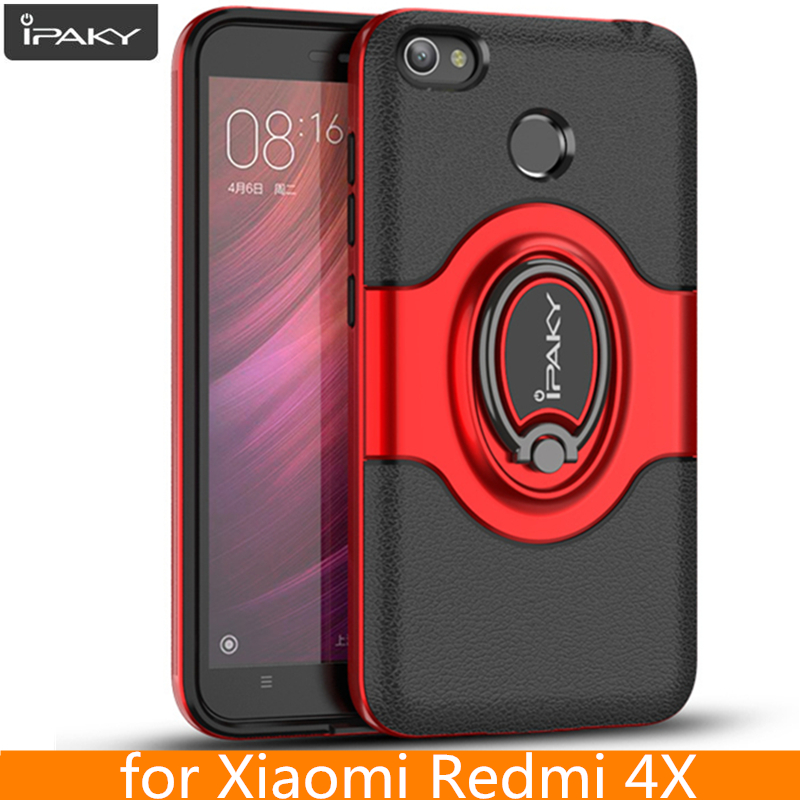 for Xiaomi Redmi 4X Ring Case Magnetic Car Air Vent Holder iPaky Holder Luxury Kickstand Case for Xiaomi Redmi 4X Case