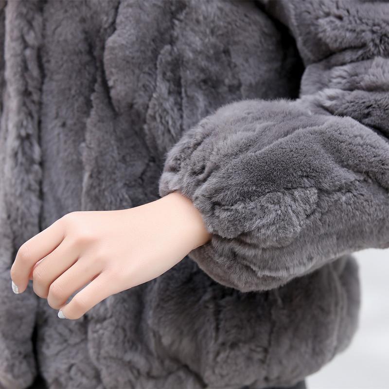 Ardoisé bourgogne Long Nouvelle Hiver Fourrure De Et Auto Court Lapin Rex Automne Cou Mode Manches noir Réel Longues Manteau culture UpqT4p