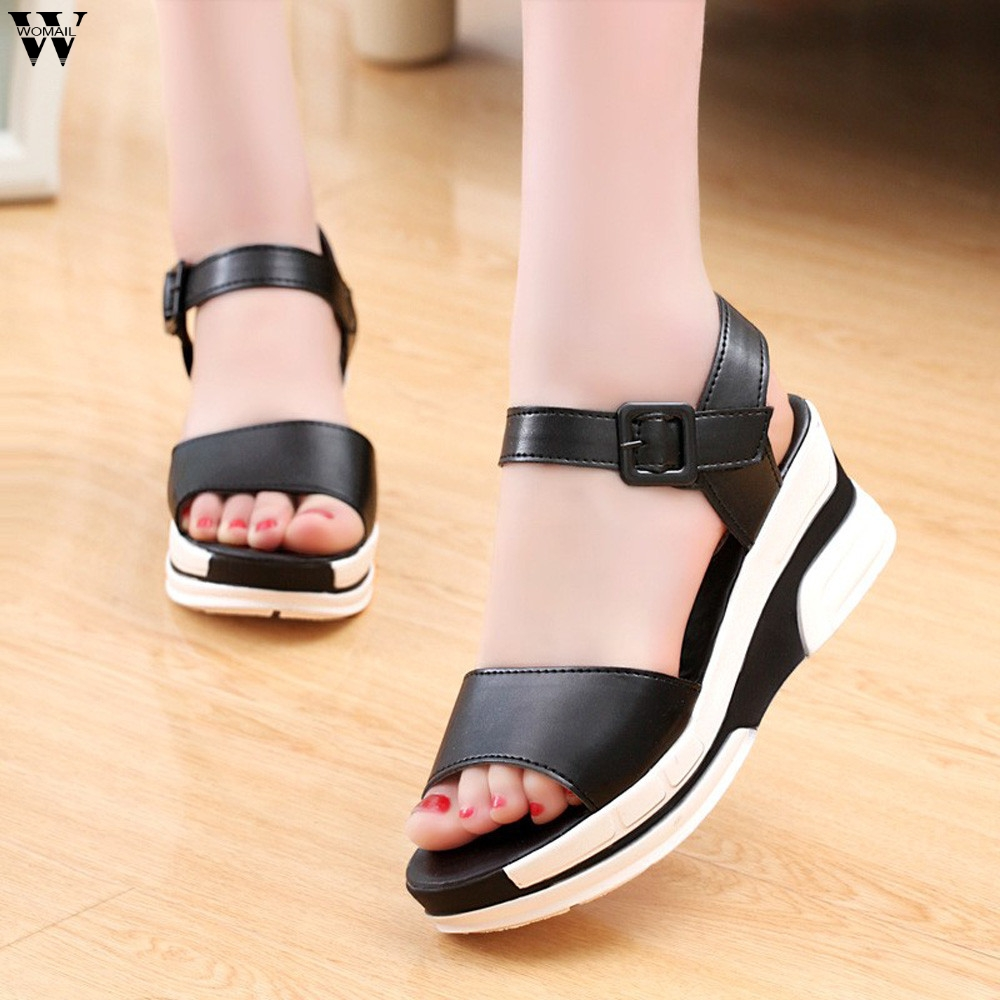 Women Summer Platform Sandals Female Fish Mouth Platform High Heels Wedge Shoes Lady Sexy Buckle Slope Sandals Jan14