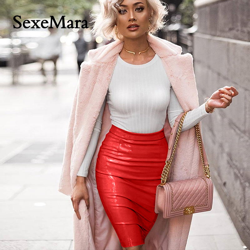 SexeMara Sexy Women Skirt Explosions Elastic Skin Mini Skirts High Waist Ladies Tight Pack Hip Summer 2018 Woman Skirt