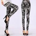 Nuevo 2017 de las mujeres pantalones de leche negro polainas de impresión summer estilo suave material de la piel de nueve mujeres leggins