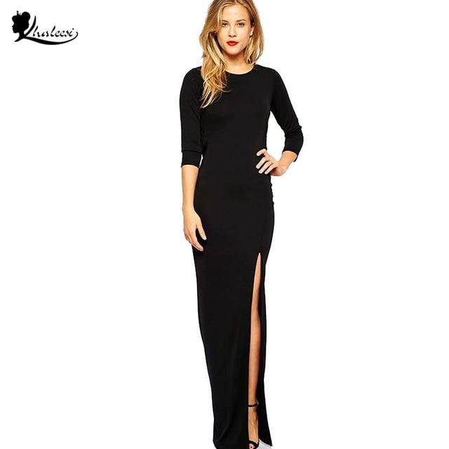 0a13fc8de7 Khaleesi 2017 Spring Autumn Brand Black Backless Dress Sexy Open Back Long  Dress High Split Maxi Dress Women Long Sleeve XS-XXL