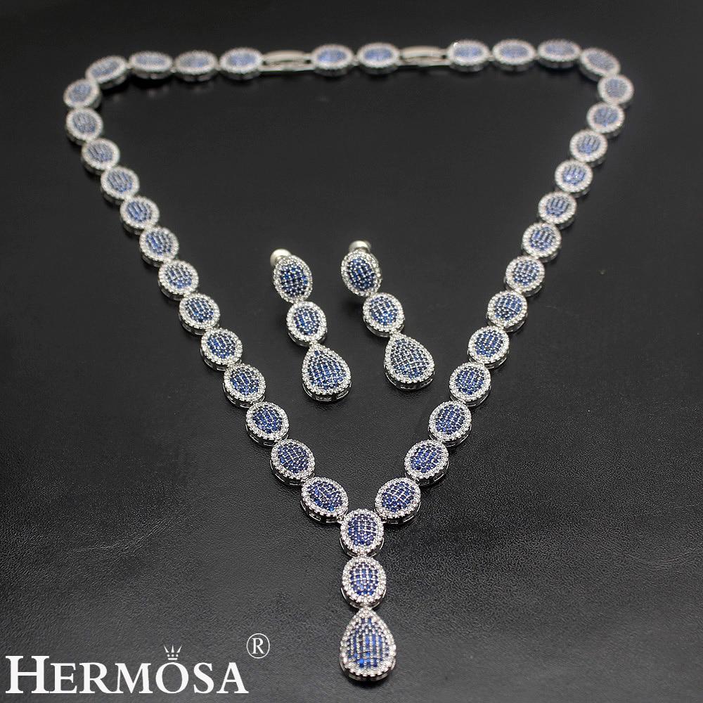 Hermosa nouveau bijoux de soirée 4 couleurs or blanc collier ras du cou boucles d'oreilles ensembles en argent sterling femmes ensemble de bijoux