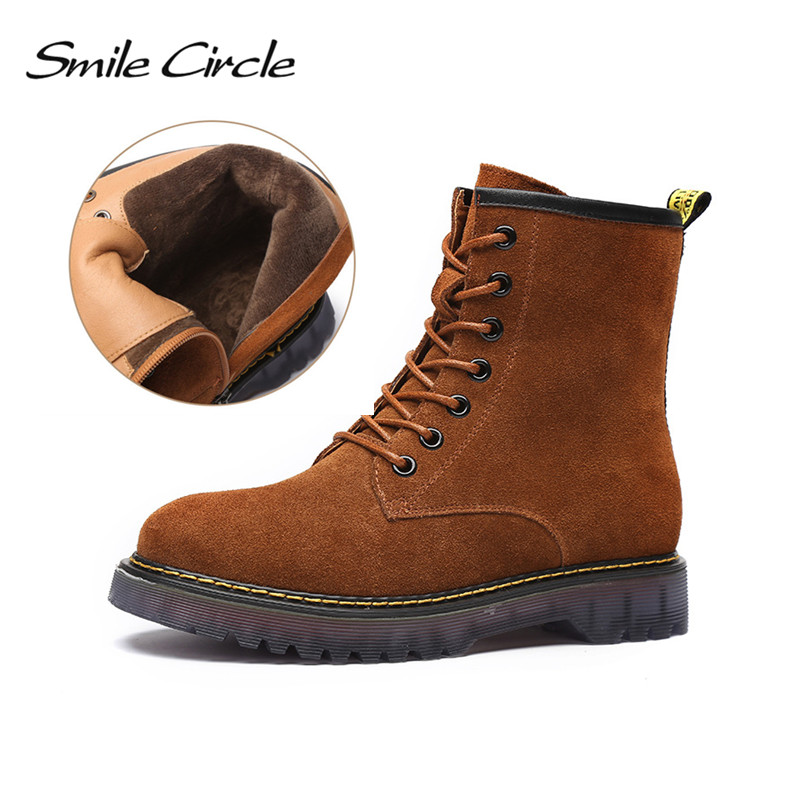 Smile Circle Winter Martin Boots For Women Suede Genuine Leather Ankle boots Round toe Lace-up warm Plush platform boots round toe suede lace up mens boots