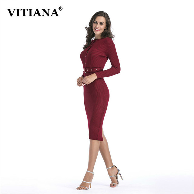 d322d4a27 VITIANA Women Office Work Midi Dress Female 2018 Autumn Long Sleeve ...