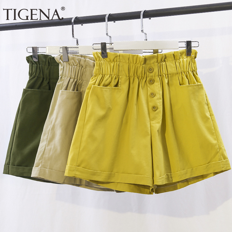 TIGENA Cotton Elastic High Waist Shorts Women 2019 Summer Korean Fashion Loose Wide Leg Shorts Female School Short Pants Ladies