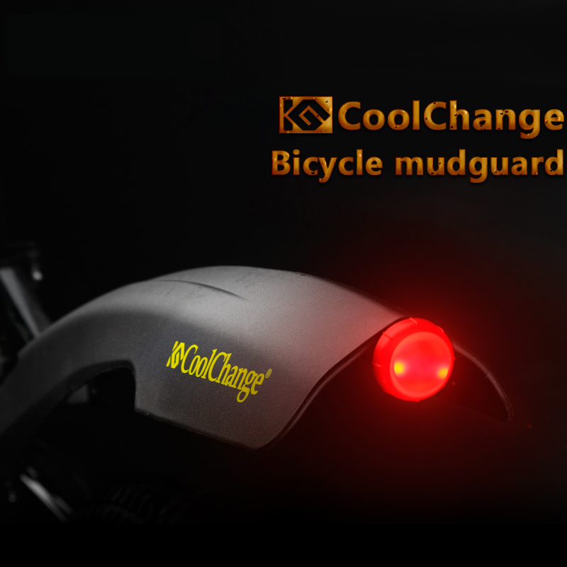 Brand 26 Inch Front Rear Flectional Bicycle <font><b>Fenders</b></font> Set with Warning Led Light Cycling Bike Mudguard Sets Bicycle Parts