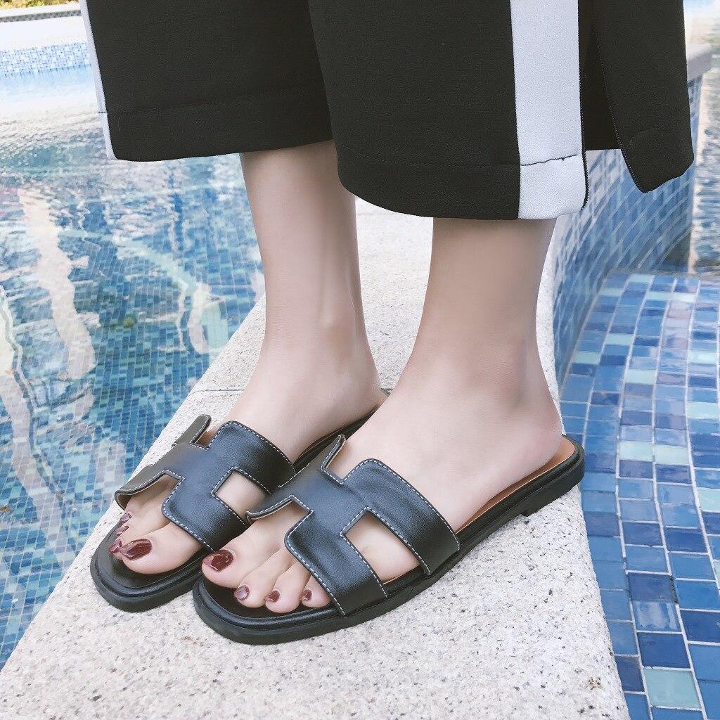 Для женщин слайд Лоферы без застежки H обувь на плоской подошве в богемном стиле шлепанцы Тапочки модные Повседневное комфорт женские сланц...