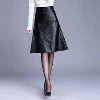 2017 Autumn Winter Leather Skirt Women Plus Size Thin Faux Leather Skirt Black PU Pocket A
