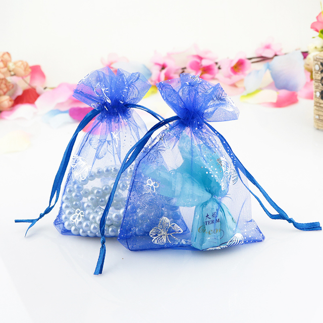 Whole 500pcs Lot Royal Blue Organza Bag 7x9cm Wedding Favor Earrings Jewelry Packaging Pouches
