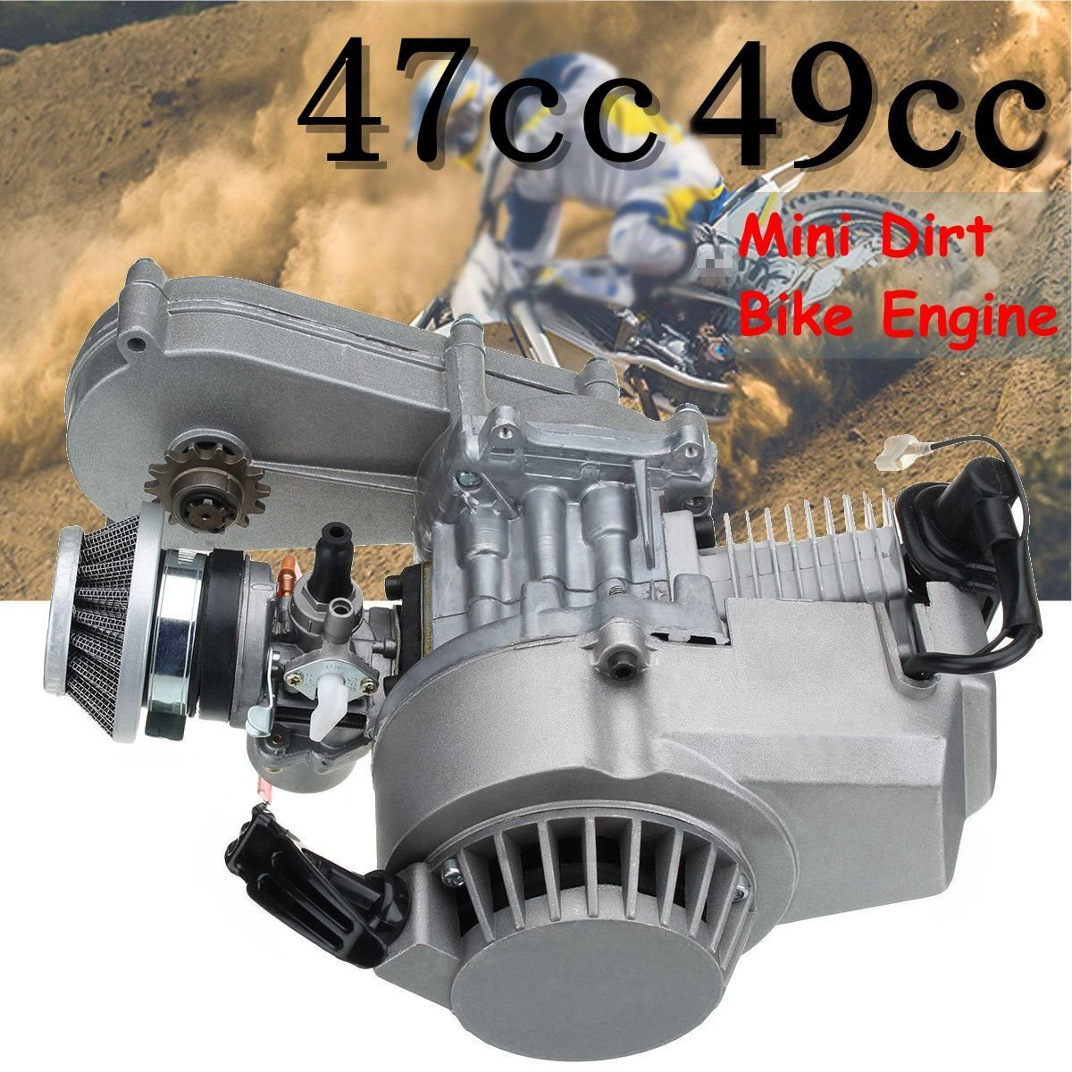 47cc 49cc Engine Electric Pull Start Coil For Mini Dirt Bike Quad Mini Moto ATV 44mm cylinder piston spark plug gasket big bore kit for 47cc 49cc 2 stroke mini dirt bike mini atv quad pocket bikes mini moto