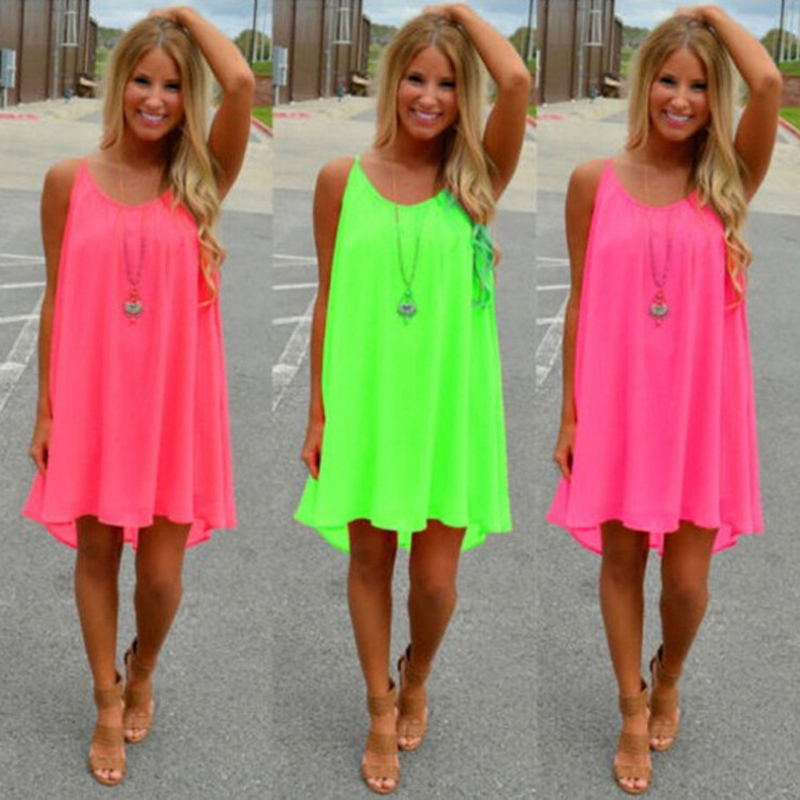 Women Beach fluorescence dress summer dress chiffon women's dress women's 2016 summer style vestido large size women's clothing