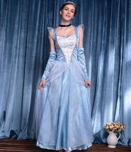 Fancy Cinderella Princess Dress Adult Party Grown Women Carnival Christmas Halloween Cosplay Costume
