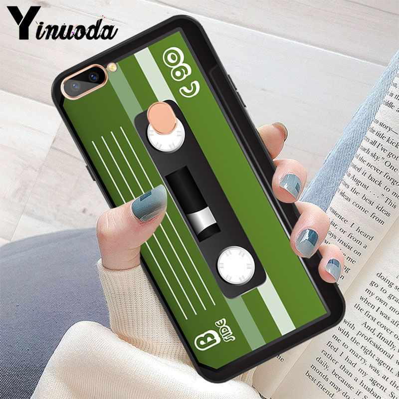 Yinuoda vintage Magnetic tape Cassette DIY Luxury High end Protector Case for OPPO R11 R11S Plus R17Pro R9S Plus R9 R9S Plus in Half wrapped Cases from Cellphones Telecommunications