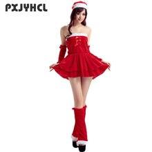 ef8bad59b Mujeres Cosplay traje de la Navidad Año nuevo baile Sexy corto rojo Set  vestido sin tirantes adulto Santa Claus uniforme fantasí.