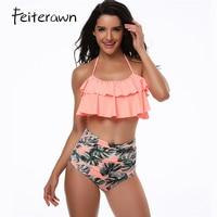 Feiterawn Sexy Bikini Set High Waist Printed Women Swimwear Double Ruffle Vintage Bandeau Striped Bottom Beach