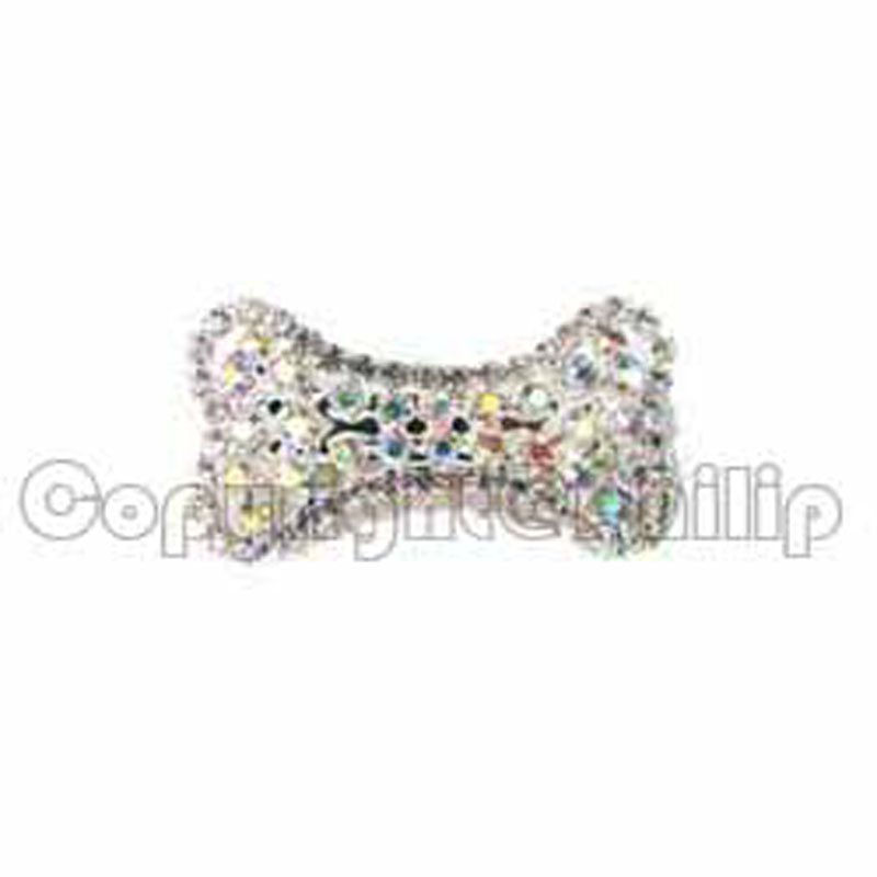 Classical design new free shipping 6pcs lot silver AB rhinestone dog bone charm lady's barrette hair fashion jewelry accessory
