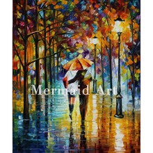 Hand Painted Under The Red Umbrella Landscape Abstract Palette Knife Modern Oil Painting Canvas Wall Living Room Artwork Fine