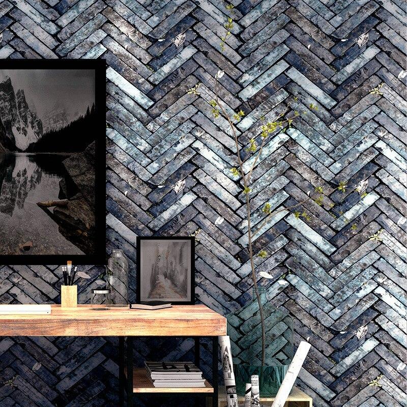 tapeta do pokoju Vintgae Grey Brown Brick Wallpaper 3D Waterproof Wall Paper Roll for Coffee Barber Shop Walls arta da parati in Wallpapers from Home Improvement