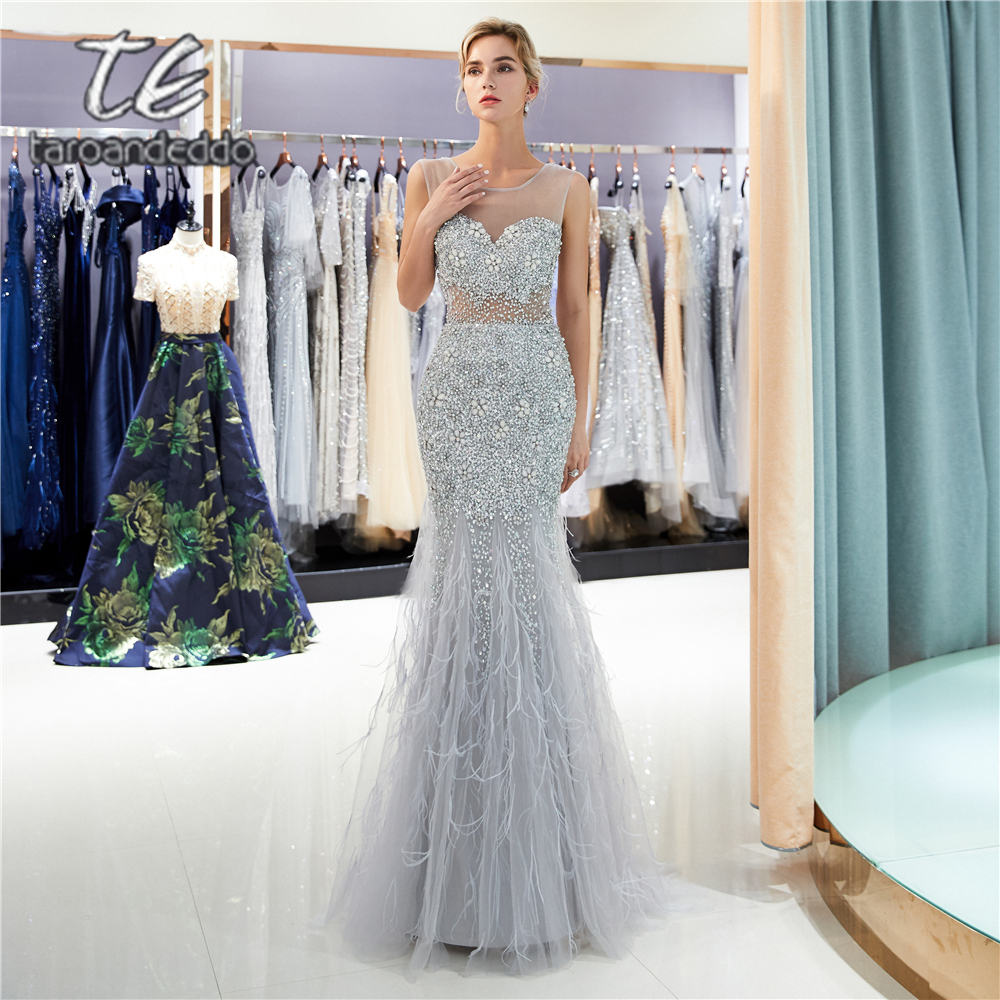 Scoop Mermaid Prom Dresses Feather Illusion V Back Sweep Train Long Formal Party Dress Vestido De Festa with Rhinestone Crystals