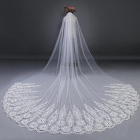 bridal accessories 3cm/4cm/5cm two layer ivory cathedral veil Appliques wedding veil Bridal Veil with Comb