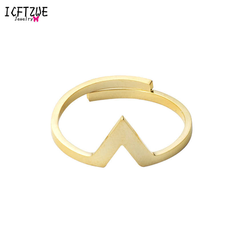 ICFTZWE Midi Chevron V Rings Adjustable Gold Toe Ring For Women Stainless Steel Silver Plated Anel Charm Jewelry