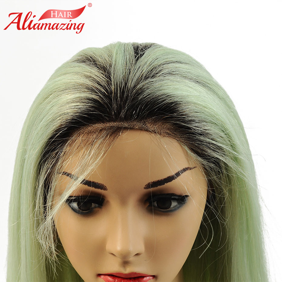 Ali Amazing Hair Lace Front Human Hair Wigs For Women Black Roots Green Preplucked Hairline Brazilian Remy Lace Wig