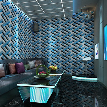 Fashion Wallpaper 3d For Living Room TV Background KTV Luxury Glod Blue Geometric Wall Paper Waterproof Vinyl Wallpapers