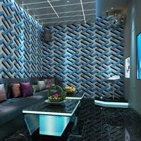 Fashion Wallpaper 3d For Living Room TV Background KTV Luxury Glod Blue Geometric Wall Paper Waterproof Vinyl Wallpapers
