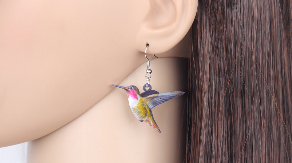 Bonsny Acrylic Flying Voilet Sabrewing Hummingbird Bird Earrings Big Long Dangle Drop Fashion Animal Jewelry For Women Girls Kid 6