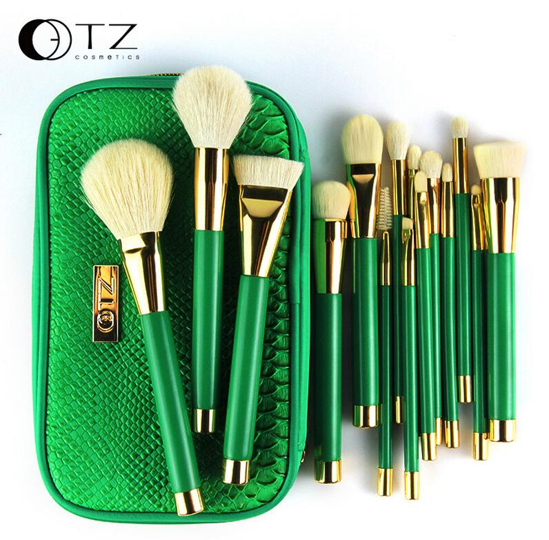 TZ cosmetix 15pcs Makeup Brushes Goat Hair Foundation Powder Blush Eyeshadow Make Up Brushes Green Makeup Brush Set with Bag fashion 10pcs professional makeup powder foundation blush eyeshadow brushes sponge puff 15 color cosmetic concealer palette