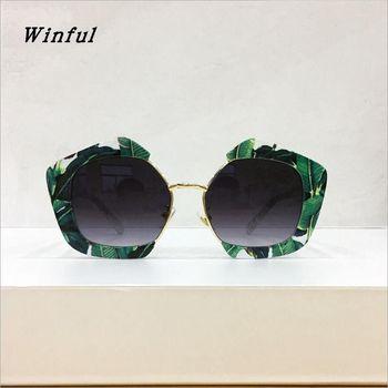 a8cecf1a10 2019 Vintage poligonal gafas de sol de las mujeres verde de hoja de  plátano, gafas de sol de moda cuadrado gafas UV400 mujer gafas de sol
