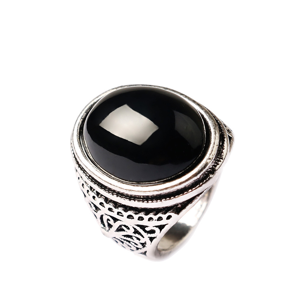 Black Stone Rings For Men Antique Silver Color Big Oval Rings For ...