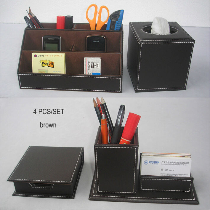 4PCS/set leather office desk organizer accessories organizer writing desk pen holder box mouse pad note case tissue box
