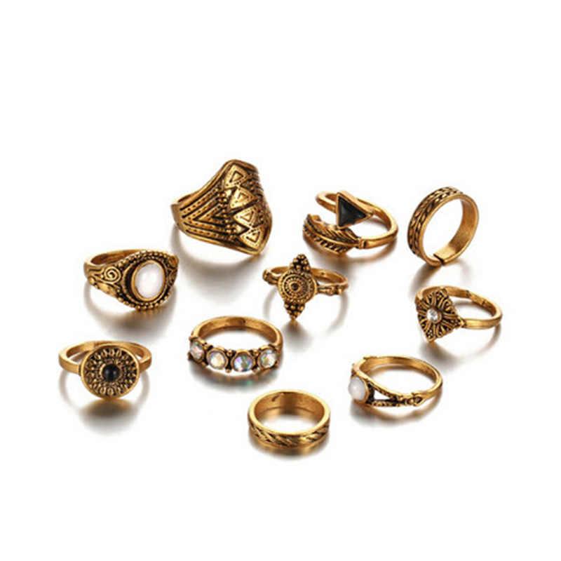 Vintage Midi ชุดแหวนชุด 10 pcs คริสตัลโอปอลแหวน Knuckle Leaf หิน Arrow ผู้หญิงแหวนเงินเครื่องประดับ
