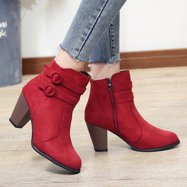 Laarzen Rode Vrouwen Laarzen Hoge Hakken Dames Schoenen Vrouwen Schoenen Mode 2018 Casual Schoenen Herfst Comfortabele Botas Mujer Botas Mujer