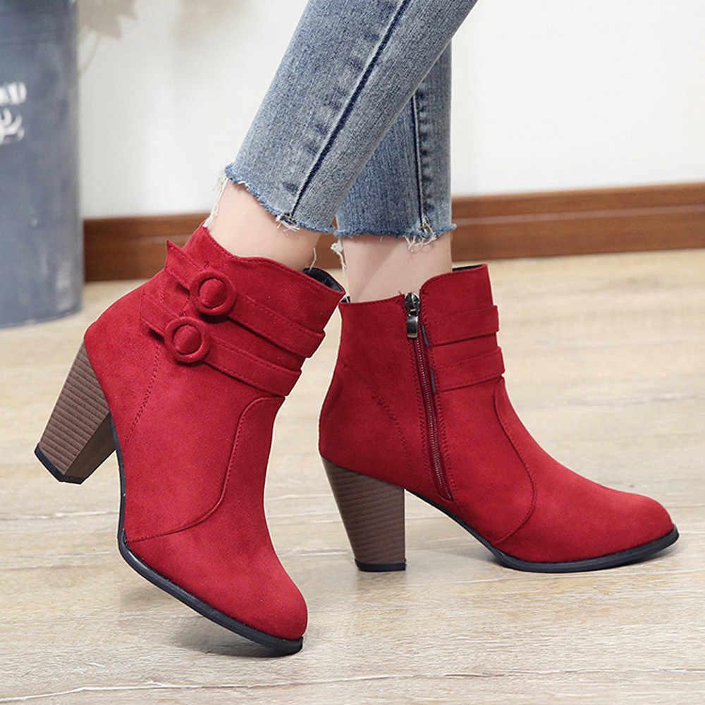 YOUYEDIAN Botas rojas Mujer 2018 botines de Mujer Zapatos de Otoño de tacón alto moda Mujer Botas con cremallera tamaño 43 Botas Mujer
