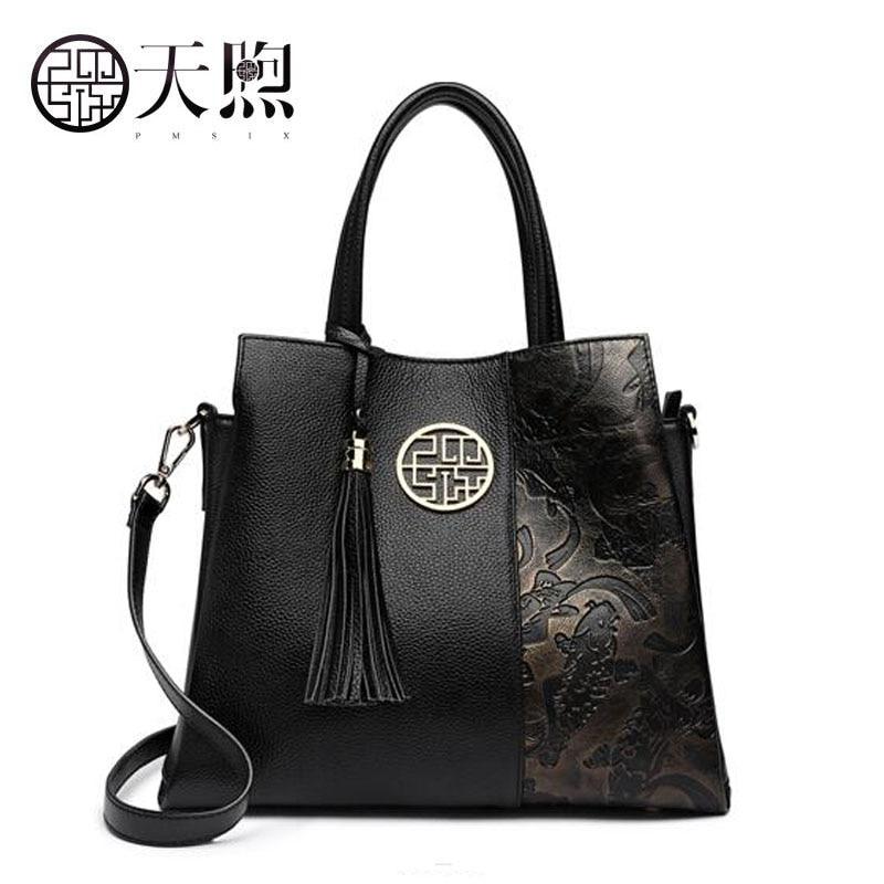 Tmsix Новинка 2018 года для женщин сумки из натуральной кожи модные кисточкой тиснением tote Дизайнер Сумка кожаные сумочки