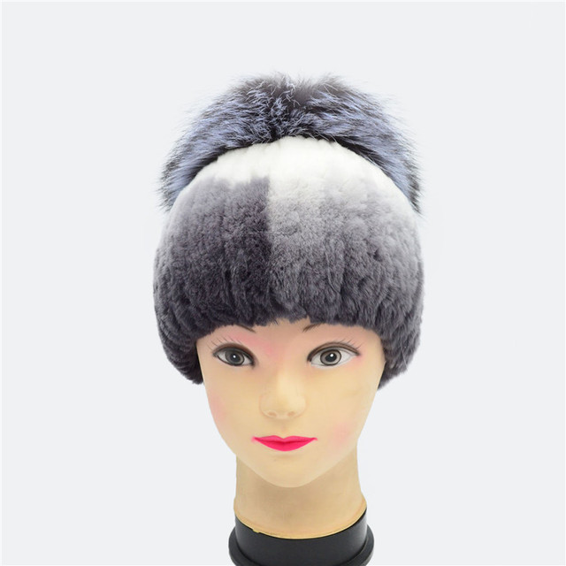 Fur Beanies Cap With silver Fox Fur Pompoms For Women New Brand Thicken Female Cap Winter Knitted Real rabbit Fur Hat for women