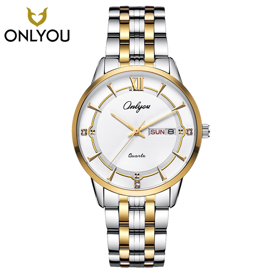 ONLYOU Diamond Watches crystal Luxury Lover Watch Men Gold Stainless Steel Women Watches Week Display Ladies Clock reloj mujer onlyou bracelet women watches stainless steel ladies diamond waterproof fashion ladies watch gfit lover quartz watch man clock