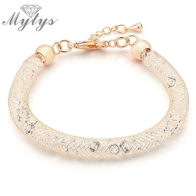 Mytys Rose Gold Wire Mesh Chain Sparkling Bracelet Stainless Steel Tube Filled Crystal Mesh Bracelet Women jewelry Gift B257