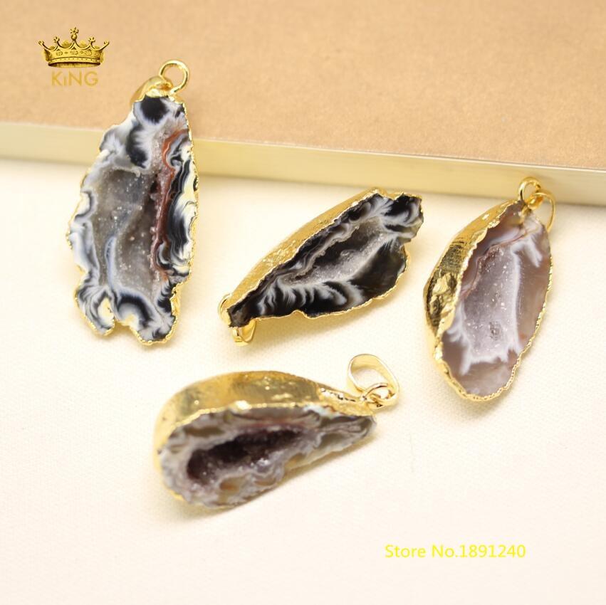 5 шт. Природный Druzy Geode Агаты покрытием золотой Медь краями плиты Бусины Подвески, сырье Drusy купля камень решений Цепочки и ожерелья оптом gh440